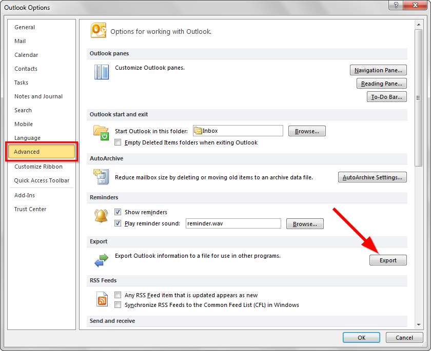 Sao lưu email trong Outlook - Export file .PST - Bước 2