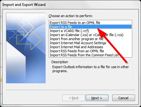 Sao lưu email trong Outlook - Export file .PST - Bước 3