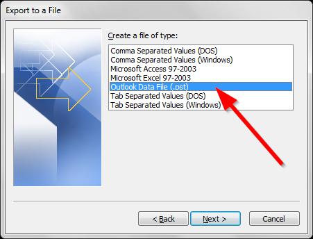 Sao lưu email trong Outlook - Export file .PST - Bước 4