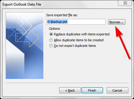 Sao lưu email trong Outlook - Export file .PST - Bước 6