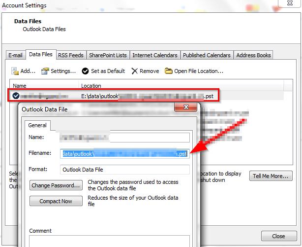 Sao lưu email trong Outlook - Xem vị trí file .PST