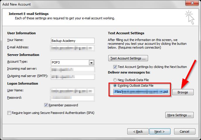 Cấu hình lại tài khoản Outlook từ file .PST sao lưu trước đó