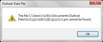 Outlook - Lỗi không tìm thấy file .PST