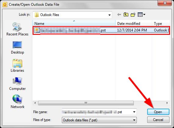 Phục hồi từ file .PST được sao lưu trước đó