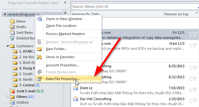 Outlook - Xem kích thước các folder trong file .PST - Bước 1