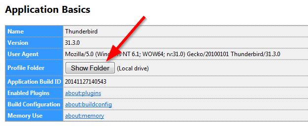 Sao lưu & phục hồi email Thunderbird - Truy cập thư mục Profile