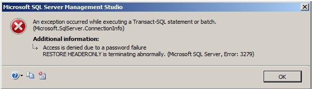 Lỗi phục hồi SQL Server