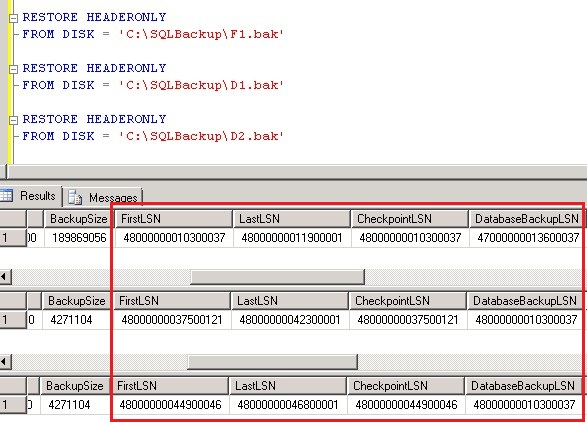 Giá trị Log Sequence Number khi chạy lệnh RESTORE HEADERONLY